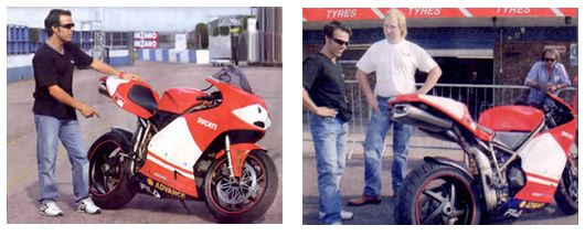 Loris Capirossi with the QB Carbon Ducati MotoGP replica