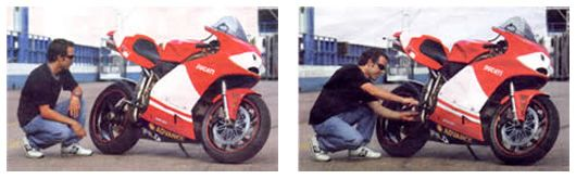 Loris Capirossi takes a look at the QB Carbon Ducati MotoGP replica